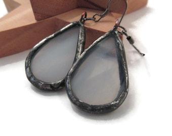White Earrings Stained Glass Earrings White Earrings Glass Metal Earrings Unique Boho Jewelry Handmade Earrings Dangling Teardrop Earring