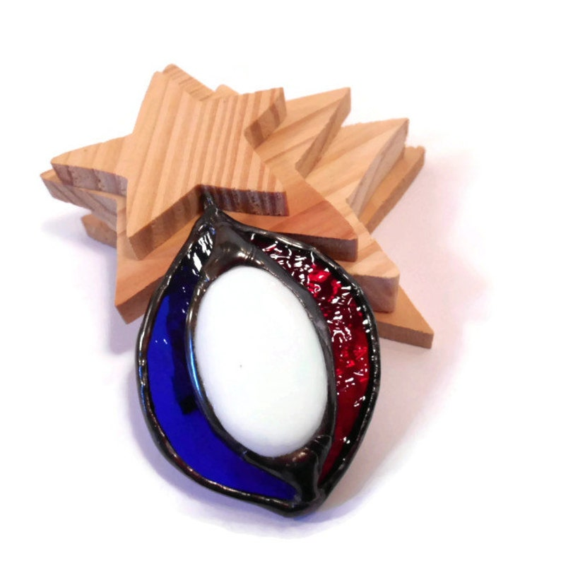 Red White and Blue Stained Glass Jewelry Necklace Handmade image 0