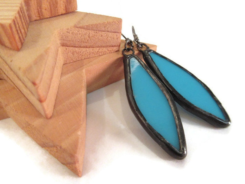 Turquoise Spear Earrings Stained Glass Earrings Glass Metal image 0