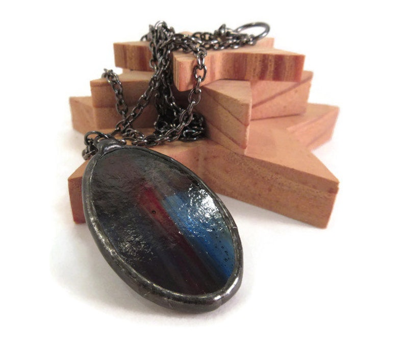 Stained Glass Jewelry Streaky Red Green Blue Glass Pendant image 0