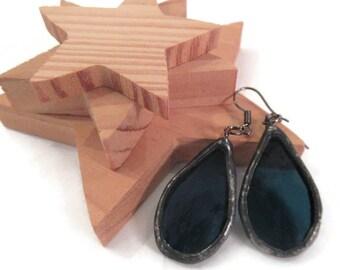 Blue Earrings Stained Glass Earrings Navy Blue Earrings Glass Metal Earrings Unique Boho Jewelry Handmade Earrings Dangling Teardrop Earring