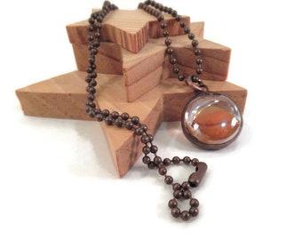 Glass Pendant Orange Pendant Handmade Jewelry Soldered Jewelry Orange Marble Pendant Glass Metal Jewelry Copper Nugget Necklace Unique Gift