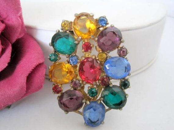 Art Deco Dress Clip, Multicolor Glass Cabochons , Vintage 30's, Necklace  Pendant