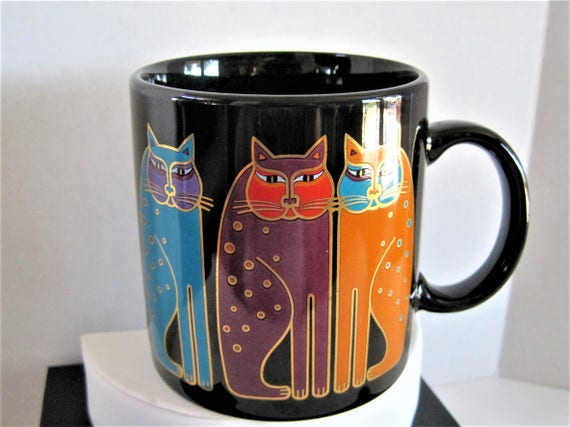 Laurel Burch Mug, Siamese Cats, 3 Cats Sitting - Vintage Cat Lovers Cup