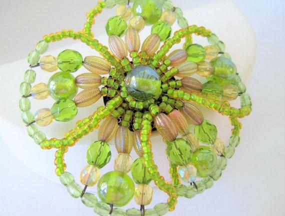 Peridot Glass Bead Brooch, Bendable Flower Shape, Elegant Pin