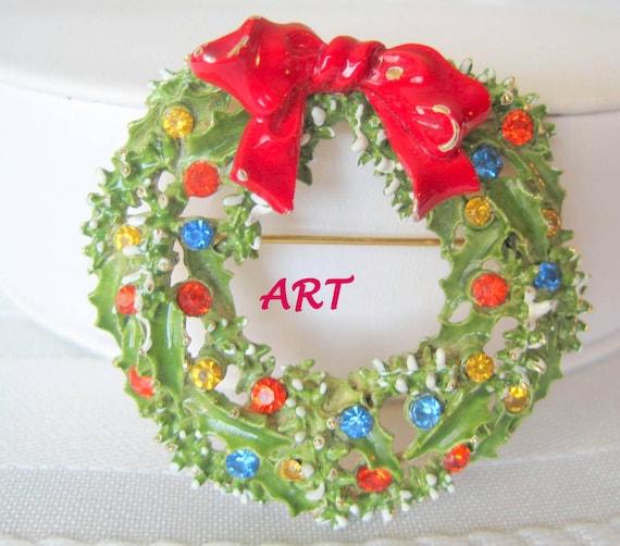 Vintage Christmas Wreath, Signed ART,  Holiday Brooch, Green Enamel, Multicolor Rhinestones