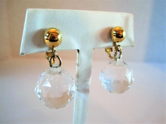 Crown Trifari Earrings, Crystal Disco Balls, Dangle Earrings, Gold Tone Setting