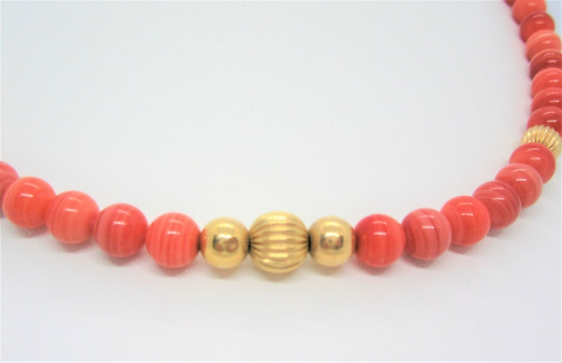 Glass Bead Choker Gold Beads Vintage Coral Beads Necklace 17 Inches Vintage Choker