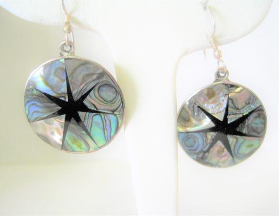 Abalone Alpaca Earrings, Mexico Alpaca, Abalone Inlaid, Onyx Design , Pierced Dangle Earrings