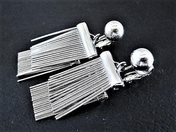 Silver Dangle Earrings,  Retro Double Drops, Unsigned Silver Clip On Earrings