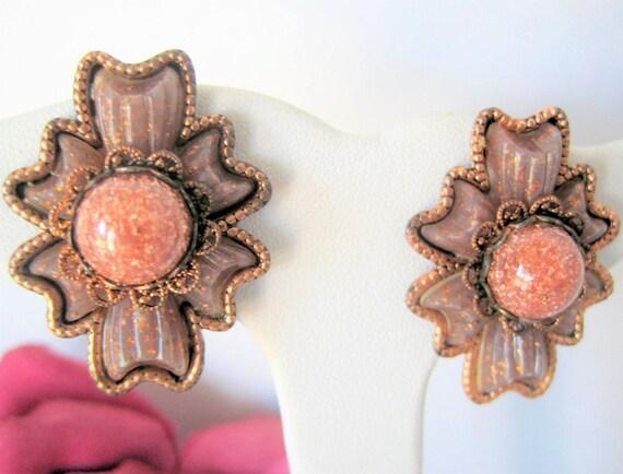 Mid Century Earrings, Goldstone Center, Copper Modernist, Clip Ons