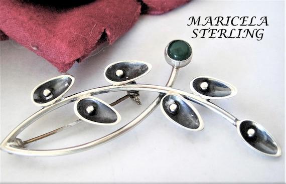 Taxco Sterling Brooch, Maricela Tasco, Estate Brooch, Green Chalcedony Stone, Sterling Silver Pin