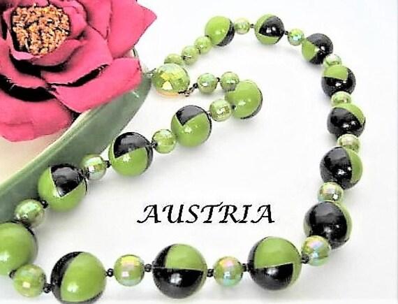 Mid Century Necklace, Bead Necklace, Geometric Signed Austria, Iridescent Necklace