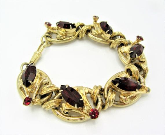 Vintage Red Bracelet, Signed Germany,  Gold Tone,