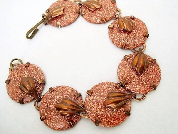 Copper Link Bracelet,  Lucite Goldstone, Goldstone Links, Lucite on Copper.