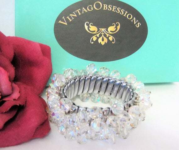 Crystal Faceted Bracelet,  Cha Cha Bead Style, Expansion Bracelet
