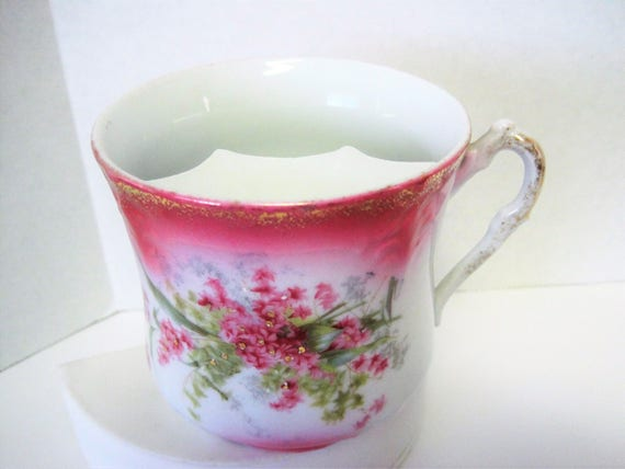 Porcelain Mustache Cup, Pink Flowered, Unsigned, Gift for Dad