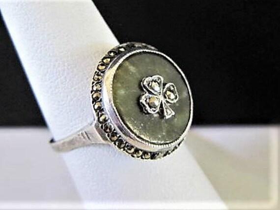 Sterling Celtic Ring, Green Connemara marble, Size 6.5, Shamroch Marcasites Center, Signed Sterling