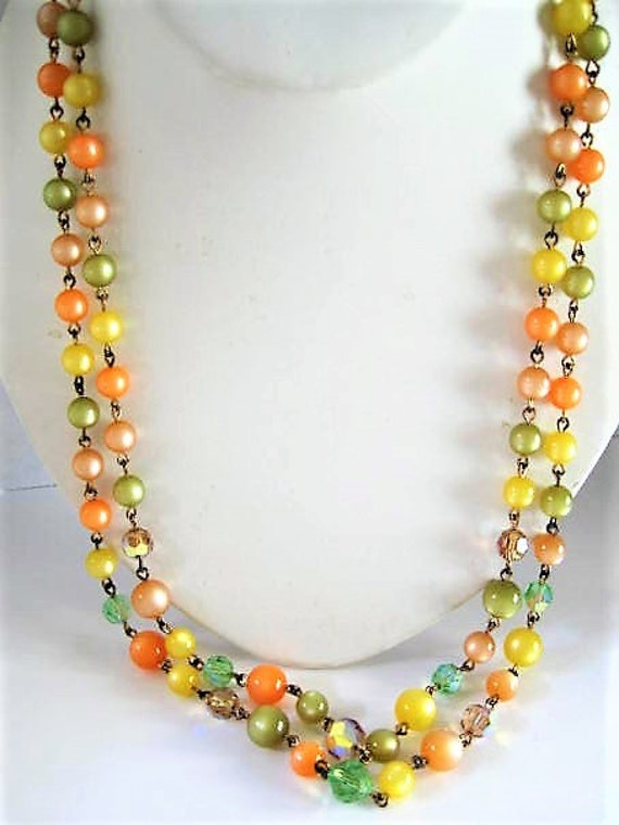 Orange Yellow  Necklace Earrings, Green Topaz Crystals,  2 Strands, Vintage Glass Crystal Beads,   Decorative Clasp