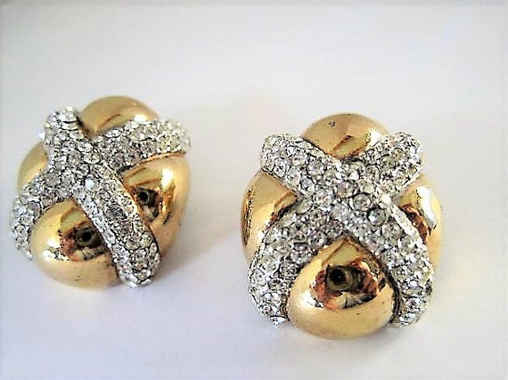 Ciner Earrings, Pave Rhinestone, Large X on Gold Tone Metal,  Clip Ons