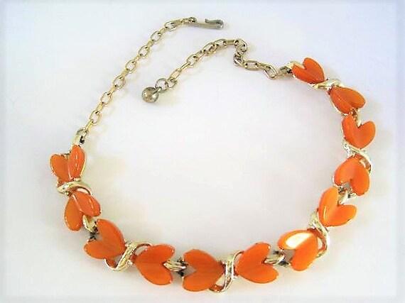 Orange Lucite Necklace, Unsigned Heart Choker, Orange Lucite Thermoset, Mid Century Choker