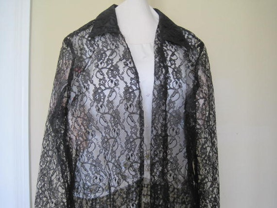 Black Lace Coat,  Shell Kepler Label, Lacy Afternoon,  Size M