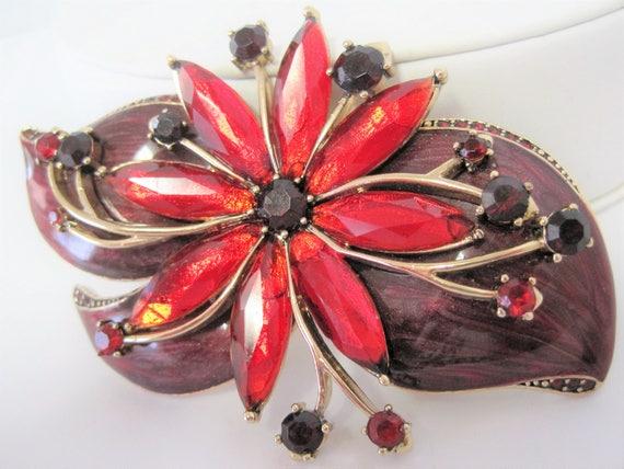 Poinsettia Enamel Brooch, Christmas Red,  Large Rhinestone Pin