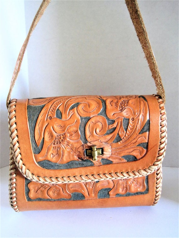 Hand Tooled Purse, Leather Top Handle Bag, Small Bag, 60's leather purse