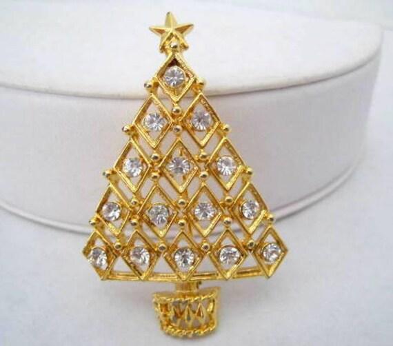 Christmas Tree Brooch, vintage Clear Rhinestones, Quality Christmas Pin