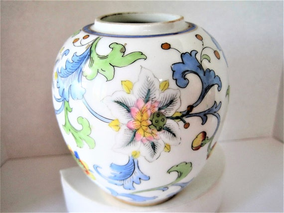 Nippon M Vase, Hand Painted Floral, Morimura Green Backstamp,  1920 - 1930 Collectible China