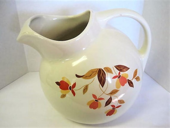 Hall Jewel Tea Pitcher,  Autumn Leaf Ball Pitcher, 7 Inches Tall,  Mid Century, Collectible Pattern