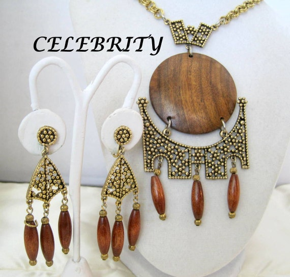 Long Necklace Earrings, Wood Pendant,  Signed Celebrity, Boho Tassel Pendant