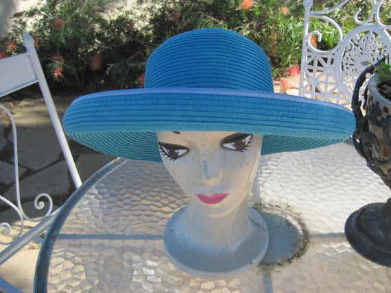 Garden Party Hat - Aqua Wide Brim -  Scala Tag -  Handcrafted Headwear - Beach Sun Hat