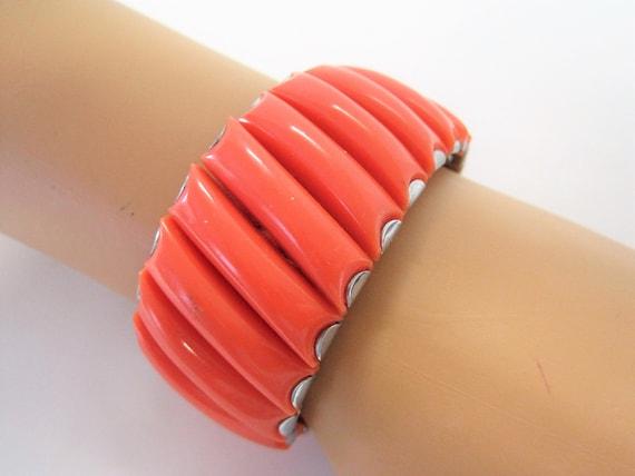 Orange Lucite Bracelet, Expandable, Stretch to fit, 60's Bracelet