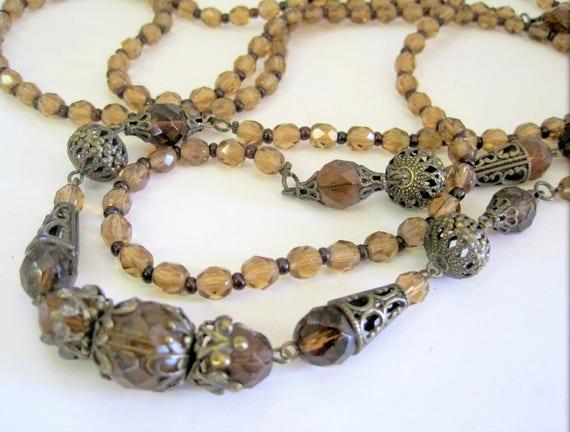 Topaz Necklace, Vintage Glass Bead Flapper, Art Deco, 60 Inch Long Necklace, Smokey Topaz, Spectacular  Statement Necklace