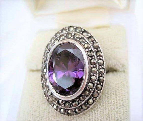Sterling Amethyst Ring, Marcasites Surrounding, Size 6 Elegant Ring