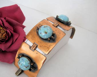 Turquoise Copper Bracelet, Wide Links,  Turquoise Cabochons, Fold Over Clasp