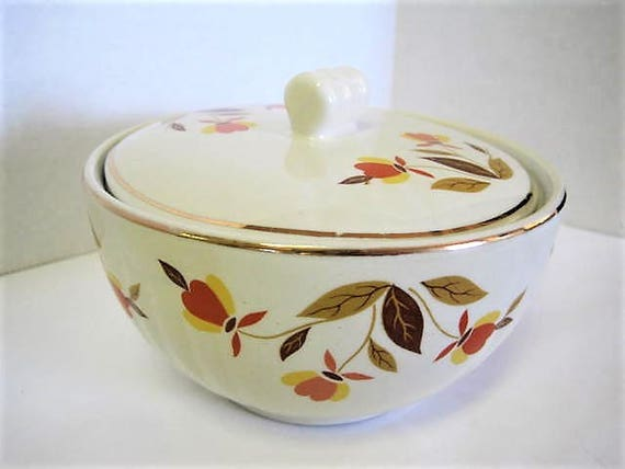 Hall Jewel Tea Lidded Bowl,  Autumn Leaf Small Bowl with Lid, 2 3/4  Inches Tall,  Mid Century, Collectible Pattern