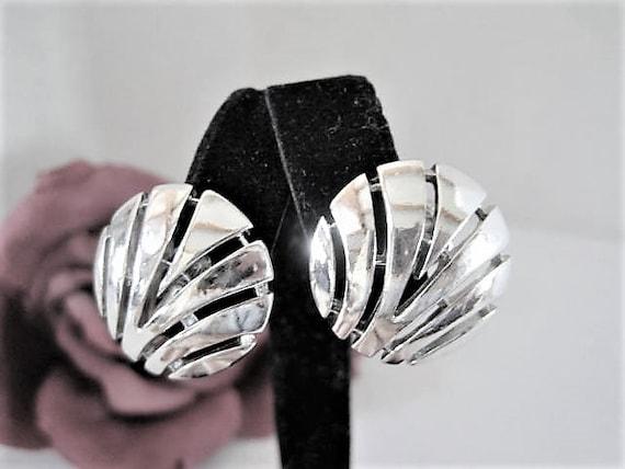 Crown Trifari Earrings, Openwork Silver Tone,  Clip Ons, Gift for Woman