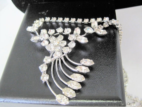 Rhinestone Pendant Necklace, Clear Stones,  Retro Wedding, Statement Choker