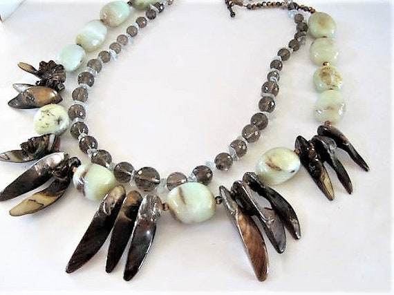 Artisan Abalone Necklace, Abalone Spikes,  White Agate Stones, 2 Strands, Glass Crystal Bib, Topaz Beads