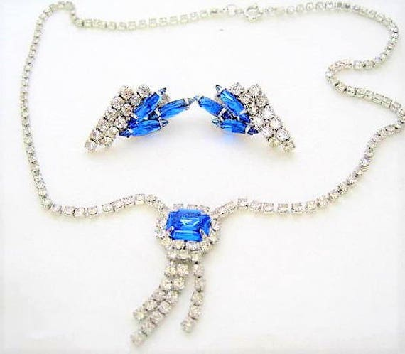 Blue Rhinestone Necklace Set, Art Deco Style, Clear Rhinestone Tassel,  Vintage Wedding Set