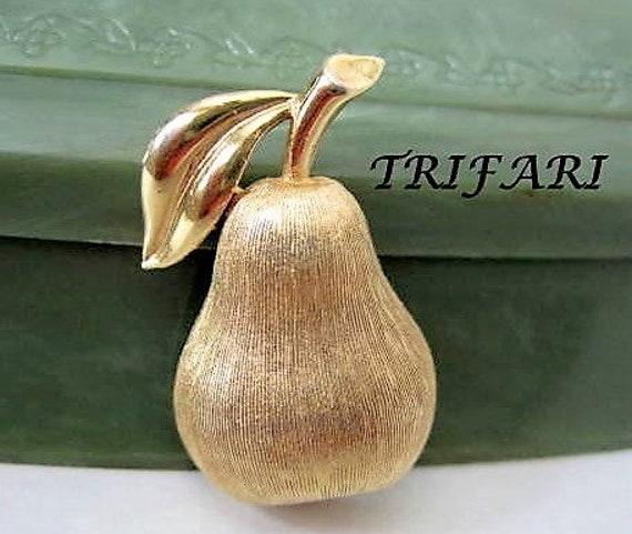 Trifari Pear Brooch,  Brushed Gold Tone Pin, Mid Century Figural