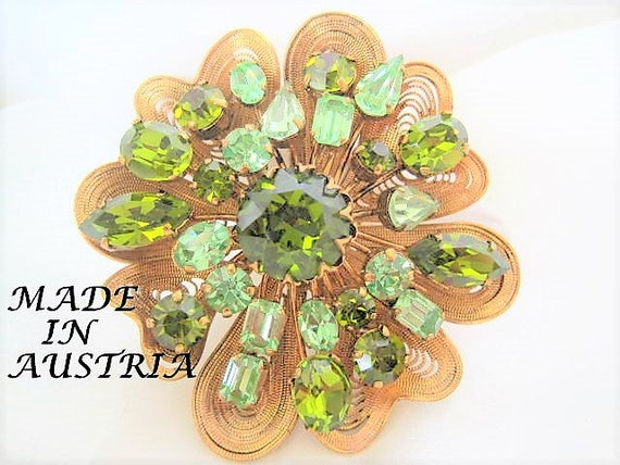 Peridot Rhinestone Brooch, Variety of Rhinestone Shapes, Signed Austria, Modernist Appeal