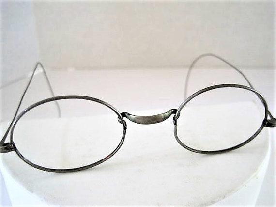20's Eyewear, Wire Rimmed Frames, Oval Frames, Silver Tone, Signed ALUMNICO, John Lennon Style