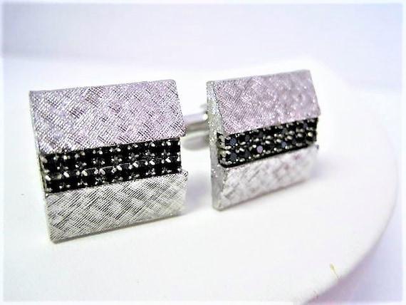 Black Rhinestone Cuff Links, Unsigned, Brushed Silver Tone, Classy and Elegant