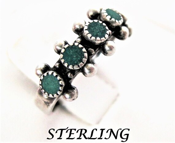 Sterling Silver Ring, Native American Turquoise, Size 6 Multistone Ring