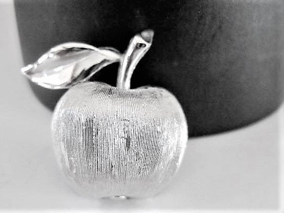 Crown Trifari Brooch, Silver Apple, Gift for Teacher, First Day of School Pin