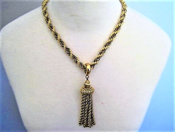 Monet Damita Necklace,  Gold Tone Tassels, Domed Shape Pendant, Vintage Monet, Book Piece