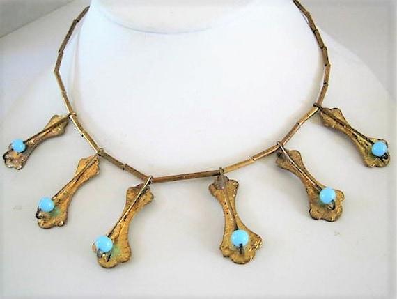 Art Deco Necklace, Blue Dangles, Statement Choker, Blue Lucite Bead Highlights